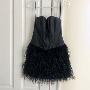 Betsey Johnson Black Feather Mini Dress